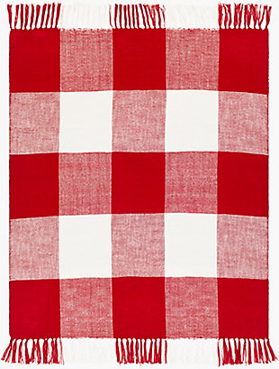 Surya Ryker Throw Blanket, Red/Burgandy, large