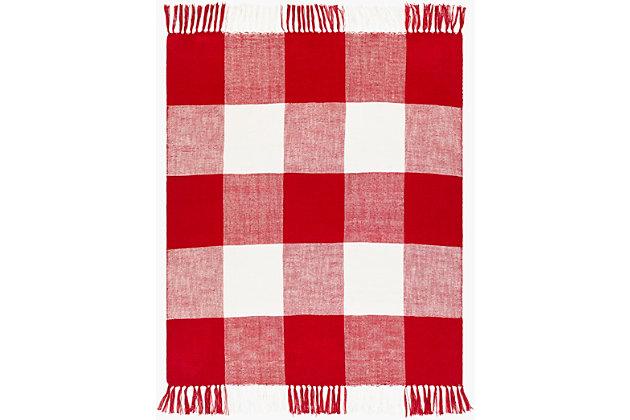 Surya Ryker Throw Blanket, Red/Burgandy, large