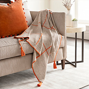 Surya Sofia Throw Blanket, Orange, rollover