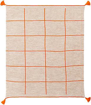 Surya Sofia Throw Blanket, Orange, large