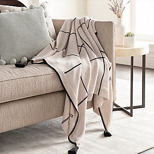 Surya Sofia Throw Blanket, Brown/Beige, rollover