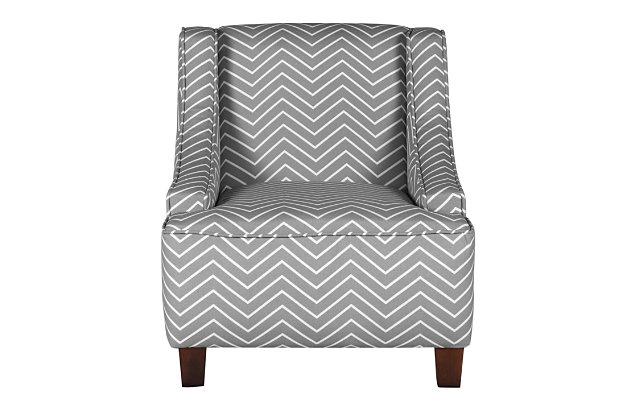 HomePop Cameron Juvenile Swoop Arm Accent Chair, , large
