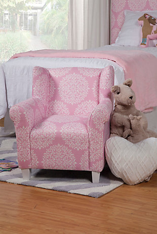 HomePop Pink Medallion Print Chair, , rollover
