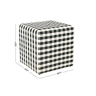 HomePop Small Square Ottoman - Mini Black Plaid, , large