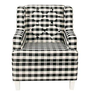 HomePop Kid's Tufted Wingback Chair - Mini Black Plaid, , rollover