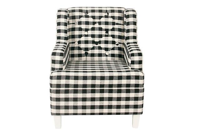 HomePop Kid's Tufted Wingback Chair - Mini Black Plaid, , large