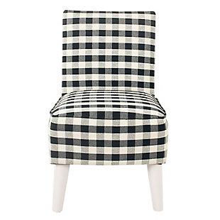 HomePop Kid's Modern Slipper Chair - Mini Black Plaid, , rollover
