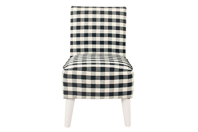HomePop Kid's Modern Slipper Chair - Mini Black Plaid, , large