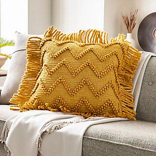 Surya Gardena Throw Pillow, Khaki/Mustard/Saffron, rollover