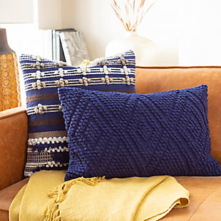 Surya Isabella Throw Pillow, Navy, rollover