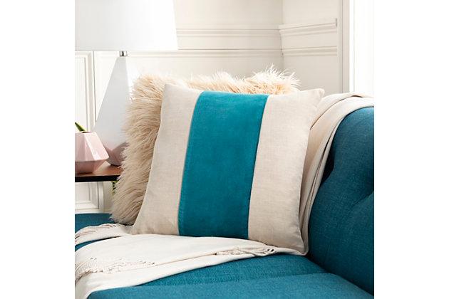Surya Kerman Throw Pillow, Ivory/Khaki/Teal, large