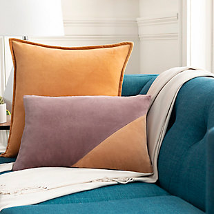 Surya Kerman Throw Pillow, Eggplant/Mauve/Camel, rollover
