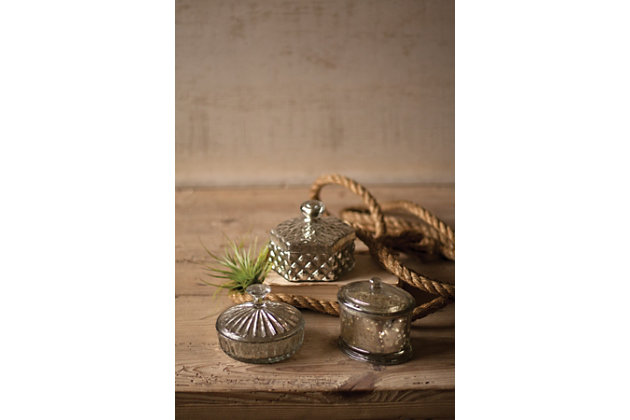 Home Accents Box (Set of 3) by Ashley HomeStore, Silver Finish