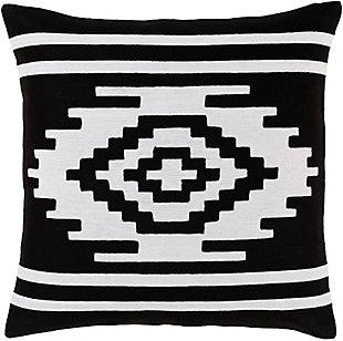 Surya Nora Throw Pillow, Black/White, rollover