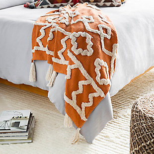 Surya Verdes Throw Blanket, Burnt Orange/Cream, rollover