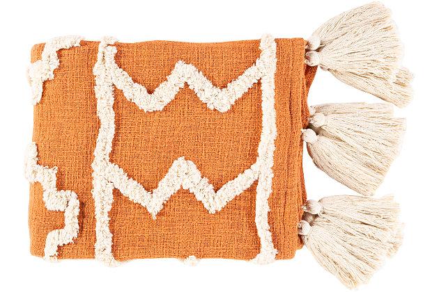 Surya Verdes Throw Blanket, Burnt Orange/Cream, large