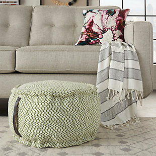 "Nourison Mina Victory Indoor/Outdoor Pillow 20"" X 20"" X 12"", Green, rollover"