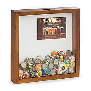 Bey-Berk Bottle Cap Shadow Box with Wall Hooks and Matte, , large