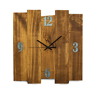 "Bey-Berk Barn Rustic Wood Wall Clock size 16""x17"", Brown, large"