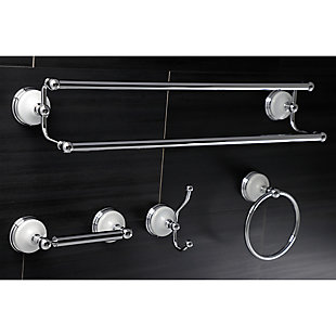 Kingston Brass Victorian 4-piece Bathroom Hardware Set with Dual Towel Bar, Polished Chrome, large