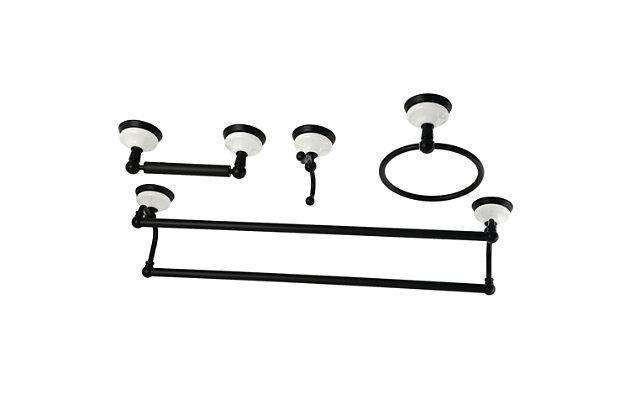 Kingston Brass Victorian 4-piece Bathroom Hardware Set with Dual Towel Bar, Matte Black, large