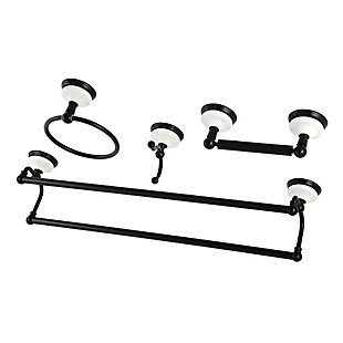 Kingston Brass Victorian 4-piece Bathroom Hardware Set with Dual Towel Bar, Oil Rubbed Bronze, large