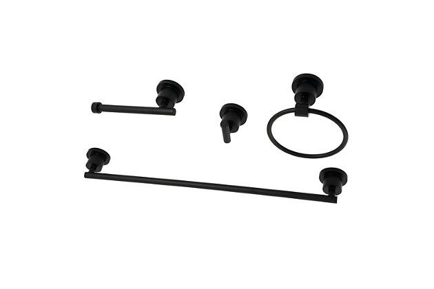 "Kingston Brass Concord 4-piece Bathroom Hardware Set with 18"" Towel Bar, Matte Black, large"