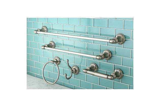 Kingston Brass Provence 5-piece Bathroom Hardware Set, Brushed Nickel, large