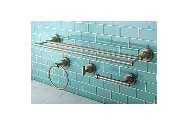 Kingston Brass Concord 4-piece Bathroom Hardware Set with Dual Towel Bar, Brushed Nickel, large