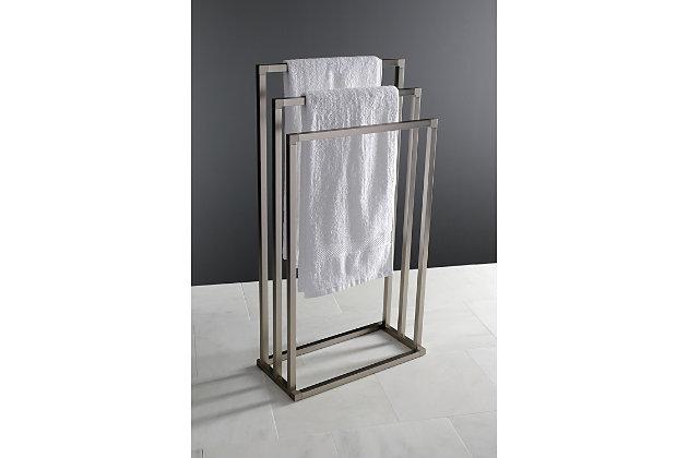 Kingston Brass Edenscape Freestanding Triple Towel Rack, Brushed Nickel, large
