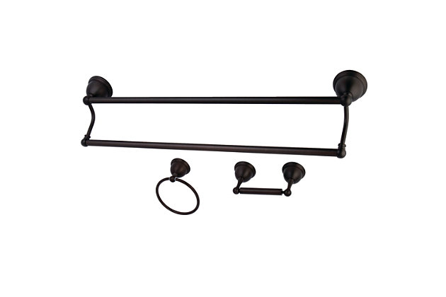 Kingston Brass Restoration 3-piece Bathroom Hardware Set with Towel Bar, Oil Rubbed Bronze, large