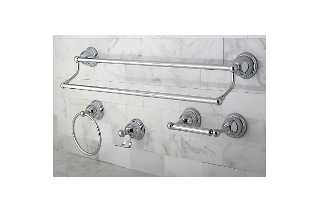 Kingston Brass Restoration 4-piece Bathroom Hardware Set with Towel Bar, Polished Chrome, large