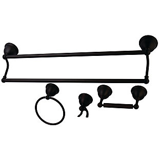 Kingston Brass Restoration 4-piece Bathroom Hardware Set with Towel Bar, Oil Rubbed Bronze, large