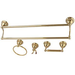 Kingston Brass Restoration 4-piece Bathroom Hardware Set with Towel Bar, Polished Brass, large