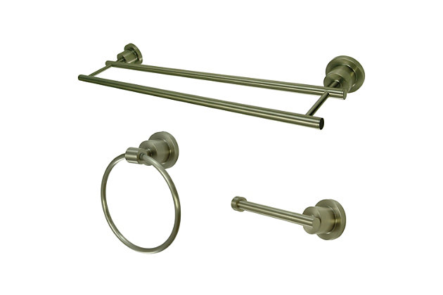 Kingston Brass Concord 3-piece Bathroom Hardware Set with Dual Towel Bar, Brushed Nickel, large