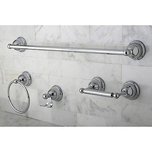 "Kingston Brass Restoration 4-piece Bathroom Hardware Set with 24"" Towel Bar, Polished Chrome, large"