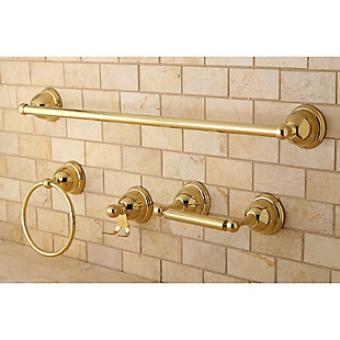 "Kingston Brass Restoration 4-piece Bathroom Hardware Set with 24"" Towel Bar, Polished Brass, rollover"