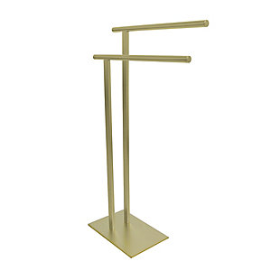 Kingston Brass Edenscape Freestanding Dual Towel Rack, Polished Brass, rollover