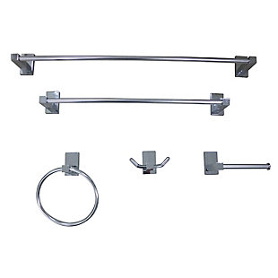 Kingston Brass Continental 5-piece Bathroom Hardware Set, Polished Chrome, rollover