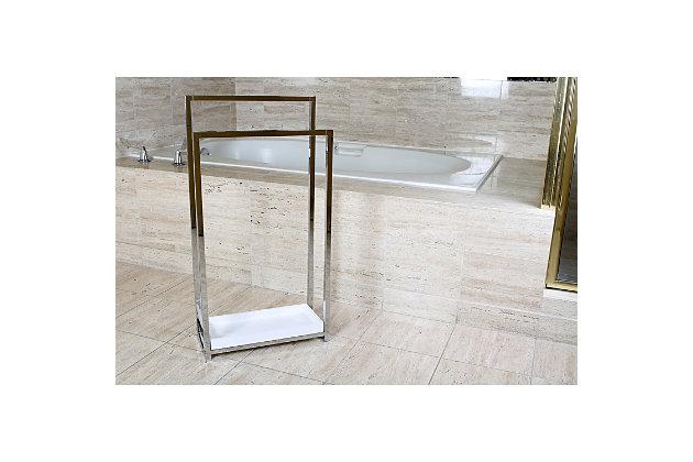 Kingston Brass Edenscape Freestanding Dual Pedestal Towel Rack, Polished Chrome, large
