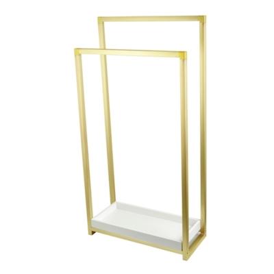 Kingston Brass Edenscape Freestanding Dual Pedestal Towel Rack, Polished Brass, large