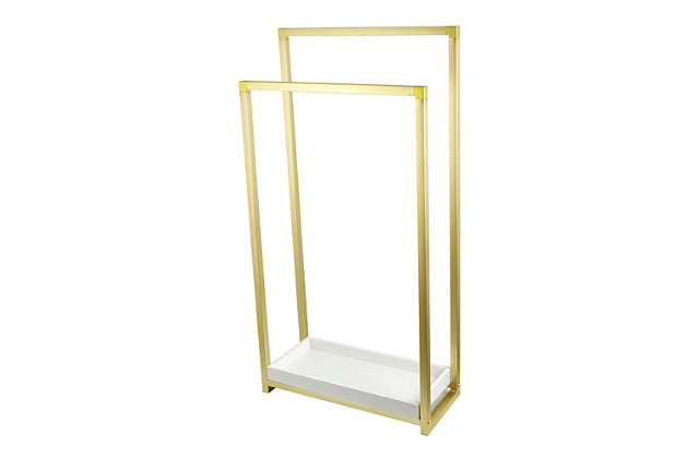 Kingston Brass Edenscape Freestanding Dual Pedestal Towel Rack, Polished Brass, large