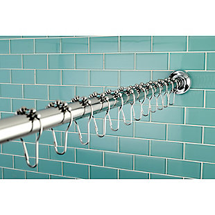 Kingston Brass Edenscape Stainless Steel Shower Curtain Rod with Rings, Polished Chrome, large
