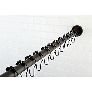 Kingston Brass Edenscape Stainless Steel Shower Curtain Rod with Rings, Oil Rubbed Bronze, large