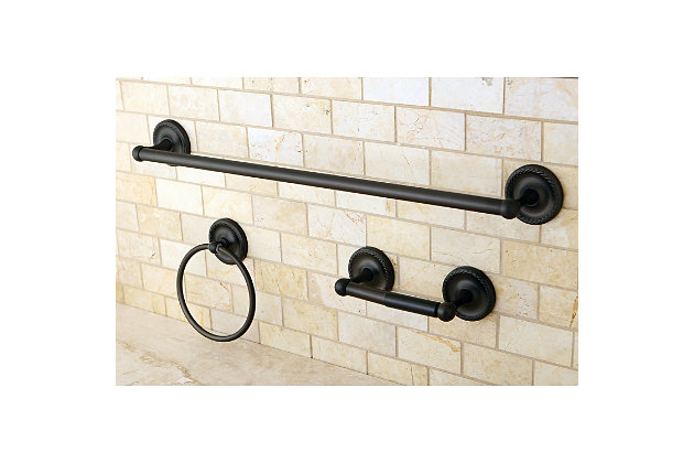 """Kingston Brass Concord 3-piece Bathroom Hardware Set with 26"""" Towel Bar, , large"""
