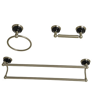 Kingston Brass Water Onyx 3-piece Bathroom Hardware Set with Dual Towel Bar, Brushed Nickel, large