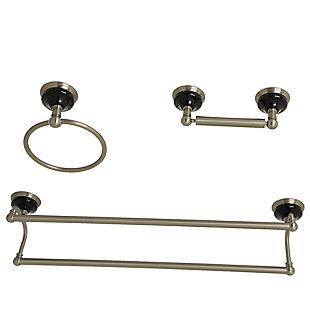 Kingston Brass Water Onyx 3-piece Bathroom Hardware Set with Dual Towel Bar, Brushed Nickel, large