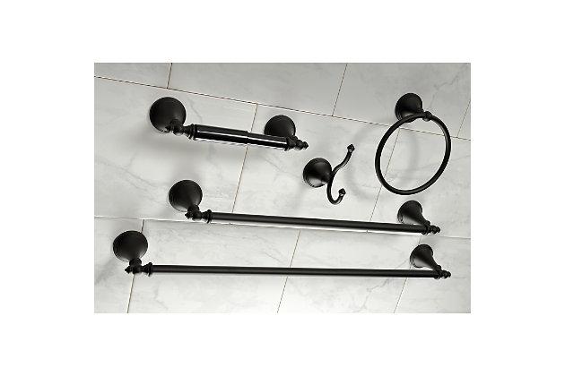 Kingston Brass Naples 5-piece Bathroom Hardware Set, Matte Black, large