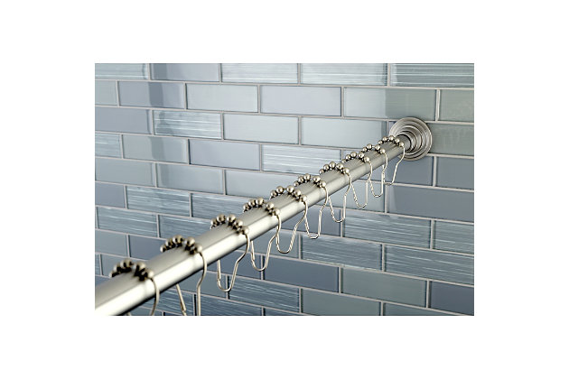 Kingston Brass Edenscape Stainless Steel Shower Curtain Rod with Rings, Brushed Nickel, large