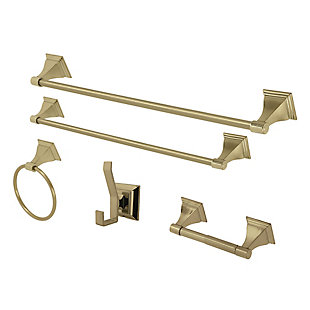 Kingston Brass Monarch 5-piece Bathroom Hardware Set, Polished Brass, rollover